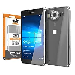 Orzly® - FlexiCase for Microsoft LUMIA 950 (Original Size 2015 Model / SmartPhone Version) - 100% Clear Protective Flexible Silicon Gel Phone Case - 100% TRANSPARENT