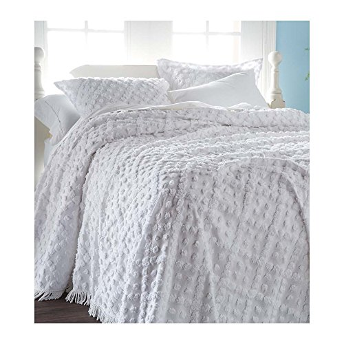 Queen Tufted Chenille Hobnail Bedspread, in White