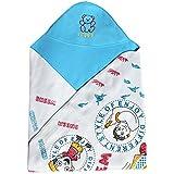 My NewBorn Premium Double Ply Reversible Hooded Fleece Baby Blanket (Sky Blue)