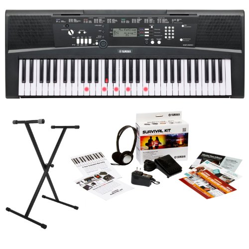 yamaha-ez220-61-key-lighted-key-portable-keyboard-bundle-with-x-style-keyboard-stand-and-survival-ki