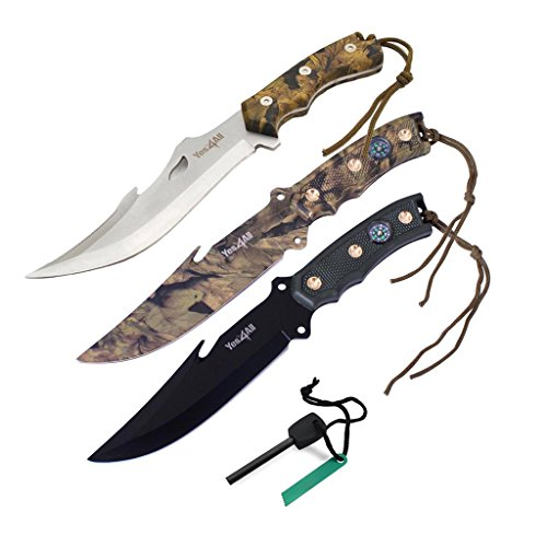 Tactical Hunting Survival Knife Skinner Bowie Fixed Blade with camouflage nylon Sheath – Speicial Promotion