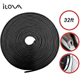 ILOVA Door Edge Guard Trim Molding Durable Fits Most Cars Virtually Invisible Easy D.I.Y. Installation Internal Double Sided Tape No Tools Needed Protected Lining 32ft Black
