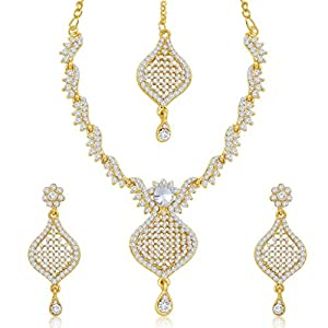 Sukkhi Brilliant Gold Plated Australian Diamond Stone Studded Necklace Set for Women