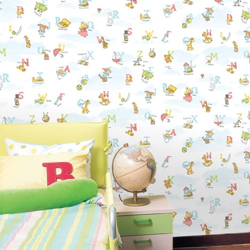 Decowall Self Stick Wallpaper-HWP-21418/Alphabet white Self-Adhesive wallpaper/Self adhesive wallpaer/Self-adhesive vinyl wallpaper/Prepasted wallpaper/Self adhesive wallcovering/wallpaper stickers.