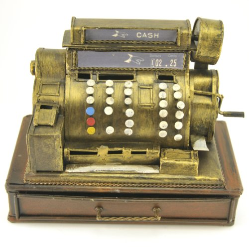 Coin Bank Cash Register Tin Metal Collectible Sculpture, 9-inch, Antique Home Decor