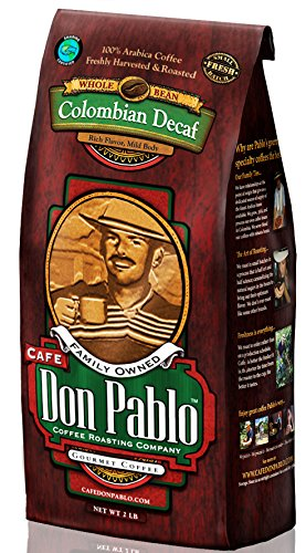 Cafe Don Pablo Decaf Gourmet Coffee Water Process Colombian Decaffeinated Medium-Dark Roast Whole Bean. 2 Lb Bag