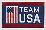 "Team USA Embroidered Iron-On Patch Size 4"" x 2 1/2"". USA Winter Olympics - USA World Cup. Great Gift For Men & Women, Him or Her"