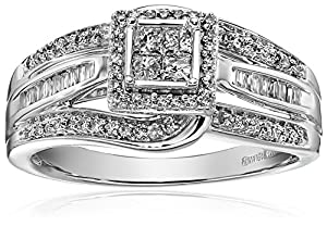 10 Kt White Gold Round Baguette and Princess Cut Diamond Anniversary Ring (1/2cttw), Size 7 by Amazon Collection