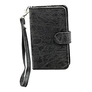 J Cover A9 CLASSIC Leather Carry Case Cover Pouch Wallet Case For Lyf Water 11 Grey