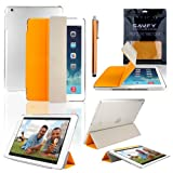 SAVFY New Apple iPad Air (2013 Edition) Ultra Thin Magnetic Smart Cover Stand Orange & Clear Crystal Hard Back Case, with Auto Sleep and Wake Sensor and Special Hook Design for Apple iPad Air iPad 5 Generation, EXTRA Gift: SAVFY Stylus Pen + SAVFY Screen