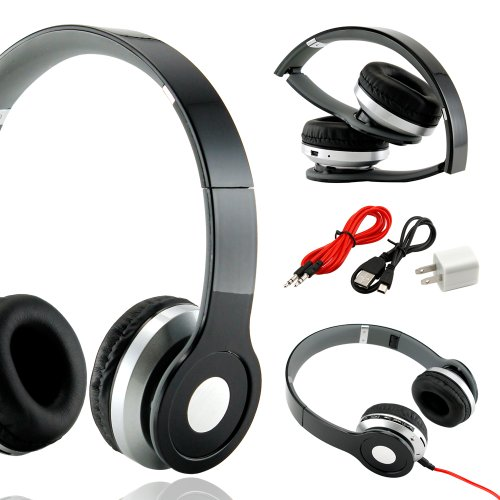 Gearonic Tm Wireless Adjustable Over-Ear Stereo Bluetooth Headphones With Volume And Track Controls For Iphone Ipod Mp3 Mp4 Pc Mobile - Black