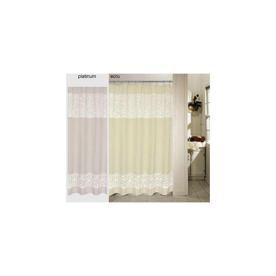 Embroidered Daisy Lace Ribbon Shower Curtain