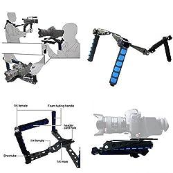 ePhoto Premium DSLR Rig Movie Kit Shoulder Rig Mount, Shoulder Support Pad for Video Camcorder Camera DV DSLR Cameras, Canon 5D MK II , 7D , 60D ,600D (T3i), Nikon D90 D7000 D5100 D3100 D300s, Sony A65 A55, A33, A580, A560, DSR-PD198p, GH1, Gh2, GH3 by eP