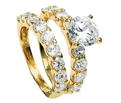 Accessories of Envy - 18ct Yellow Gold Filled 2.04ct AAA+ Grade Simulated Diamond Engagement/Wedding Ring Set - EXCELLENT Quality - Sparkles like Mined Diamonds - FREE Elegant Black Double Leatherette Ring Box Included
