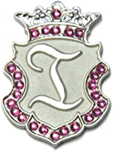 Navika Silver Initial Swarovski Crystal Ball Marker with Matching Royal Crown Hat Clip I