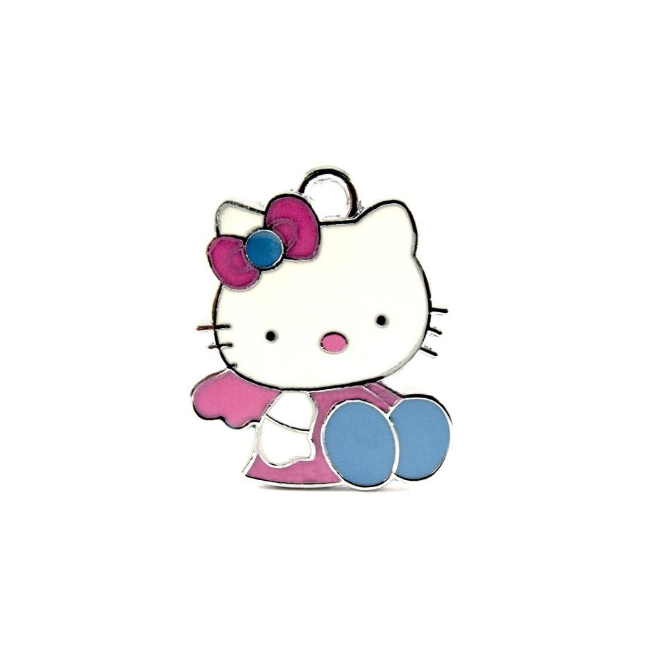12X Light Pink and Blue Hello Kitty/Enamel Charm Pendant   DIY Jewelry Making