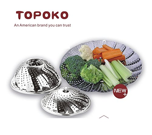 (Big Sale) Topoko 100% Stainless Steel Vegetable Steamer, Pasta Steamer, Folding Collapsible Basket for Various Size Pots (Vegetable Cooler compare prices)