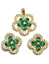 M Gold Designer 18k Gold Plated Diamond Pendant Set Green PS80GP For Women