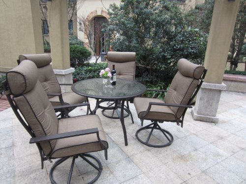 5pc Outdoor Cushion Swivel Rocking Patio Dining
