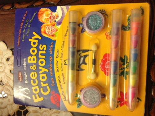 Face and Body Crayons 18 Bright Colors Non- Toxic, 2 Glitter, 1 Sponge Stick