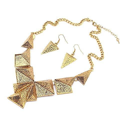 Colore: Oro, tonalità anticata Asymmetric Triangle-Set di orecchini e ciondolo a forma di piramide