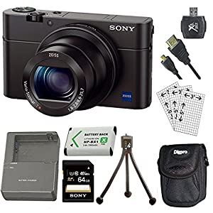Sony DSC-RX100M III DSC-RX100M3 RX100M3 Cyber-shot Digital Still Camera Bundle with 64GB Card, Spare Battery, Rapid AC/DC Charger, SD Card Reader, Case, LCD Screen Protectors, and Table top Tripod