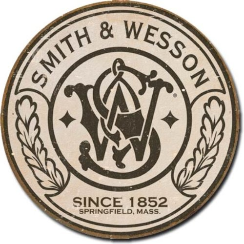 Smith & Wesson - Round Metal Tin Sign , 11x11