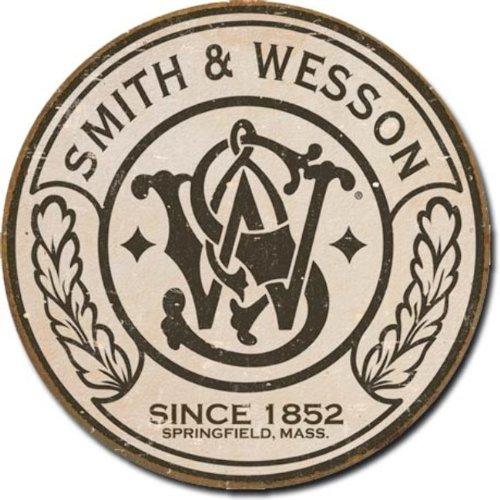 Smith & Wesson - Round Metal Tin Sign , 11x11