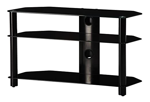 NEO 390-NN - Mueble de TV con 3 estantes y 90 cms de ancho. Vidrio Negro / Chasis negro.