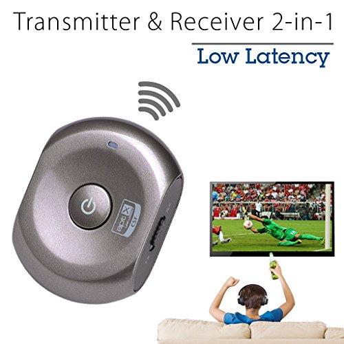 Avantree Ricevitore e Trasmettitore a BASSA LATENZA | Adattatore 2 in 1 | Aggiungete la funzione Bluetooth a i vostri dispositivi Analogici Audio come Altopalanti, TV e qualsiasi altra fonte sonora - Saturn Pro