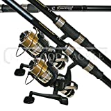 OAKWOOD Carp Combo 2.75tc Rod X 2 & Single Bait Runner Reel With Line X 2 Fishing