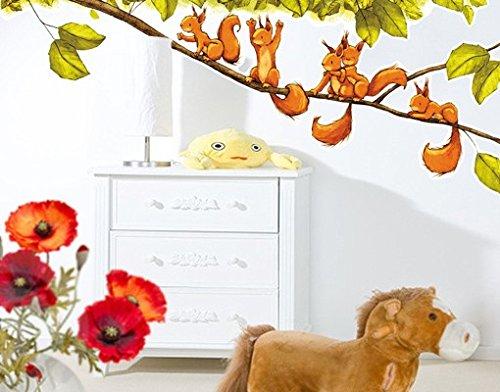 Wandtattoo No.663 Einhörnchen jubeln 131x50cm Wand Sticker Kinderzimmer Tiere, Größe:50cm x 131cm kaufen