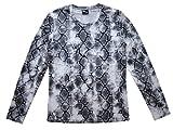(プーマ) PUMA クルーネック パイソン柄 フィットシャツ 長袖Tシャツ ストレッチ スポーツウェア