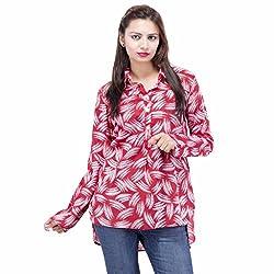 Jaipur Kala Kendra Women's Cotton Printed Full Sleeves Casual Top Shirt Medium Red