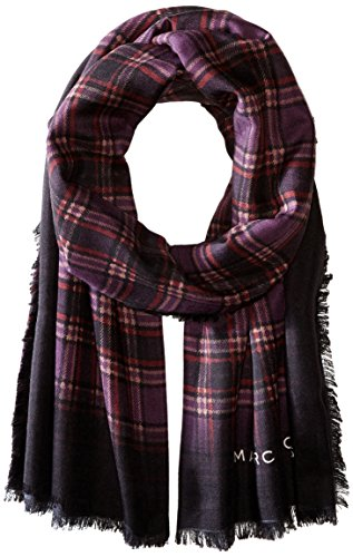 Marc-Jacobs-Womens-Blur-Check-Stole-In-Burgundy-Multi