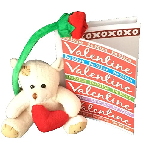 "Valentine Bear With, ""I Love You"" on His Foot, Long Stem Rose 12"", Be My Valentine Card and Envelope Bundle (4 Pieces)"