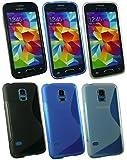 Emartbuy� Samsung Galaxy S5 Mini SM-G800 Ultra Slim Gel H�lle Schutzh�lle Case Cover Packung 3 - Blau, Clear & Schwarz
