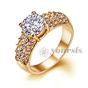 Rose Gold Plated Rhinestone Anel Coroa Engagement Ring R180R1: Jewelry