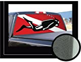 51k4N27zfGL. SL160  SCUBA DIVER 22 x 65  Rear Window Graphic  diving truck decal suv
