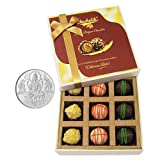 Chocholik Belgium Chocolates - 9pc Scrumptious White Collection Of Chocolates With 5gm Pure Silver Coin - Diwali...