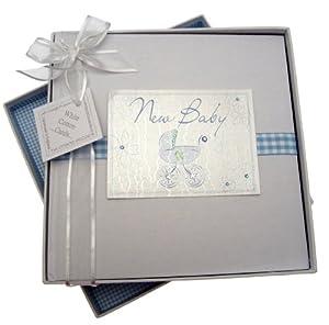 White Cotton Cards - Álbum de fotos de bebé, diseño de cochecito, color azul marca Wharton School Publishing - BebeHogar.com