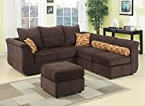 Hot Sale Acme 15230 Caisy Chenille Fabric Sectional Sofa Set, Chocolate Finish
