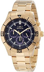 Invicta Specialty Men's Quartz Watch with Blue Dial Chronograph Display and Stainless Steel Gold Plated Bracelet 12844