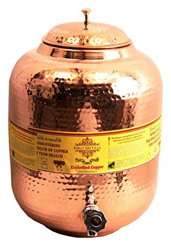 IndianArtVilla-Handmade-Pure-Copper-Water-Pot-Tank-With-Tap-18-Liter-Storage
