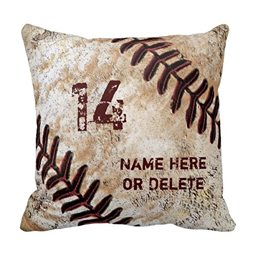 Decors Jersey Number and Name on Vintage Baseball Pillow 0