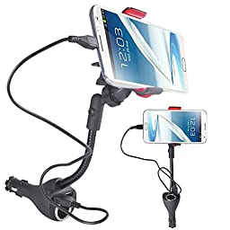 Aresmer Car Mount Phone Holder with Dual Usb Charging Ports & Extra Cigarette Power Outlet for iPhone 7, 7 Plus, 6/6S, 6/6S Plus, Samsung Galaxy S7/S7 Edge, S6/S6 Edge and more