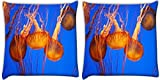 Snoogg Jellyfish Season Pack Of 2 Digitally Printed Cushion Cover Pillows 14 X 14 Inch