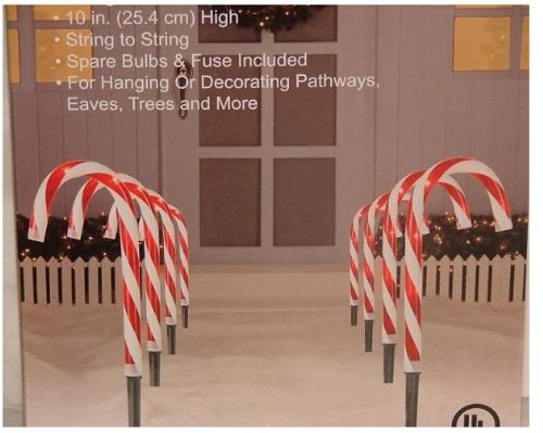 SET OF 8 CANDY CANE PATHWAY LIGHTS CHRISTMAS