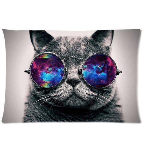 Galaxy Hipster Cat Theme(3D) Funny Cat Wear Color Sunglasses Soft Custom Rectangle Pillowcase Pillow Case Covers