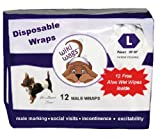 Wiki Wags Brand - 12 Large Disposable Male Dog Wraps With Free Aloe Wet Wipes